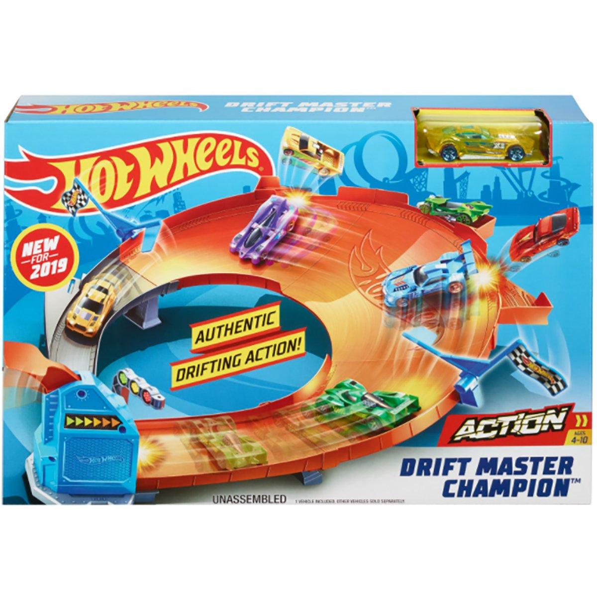 Set de joaca Circuit cu obstacole Hot Wheels, Drift Master Champion GBF84