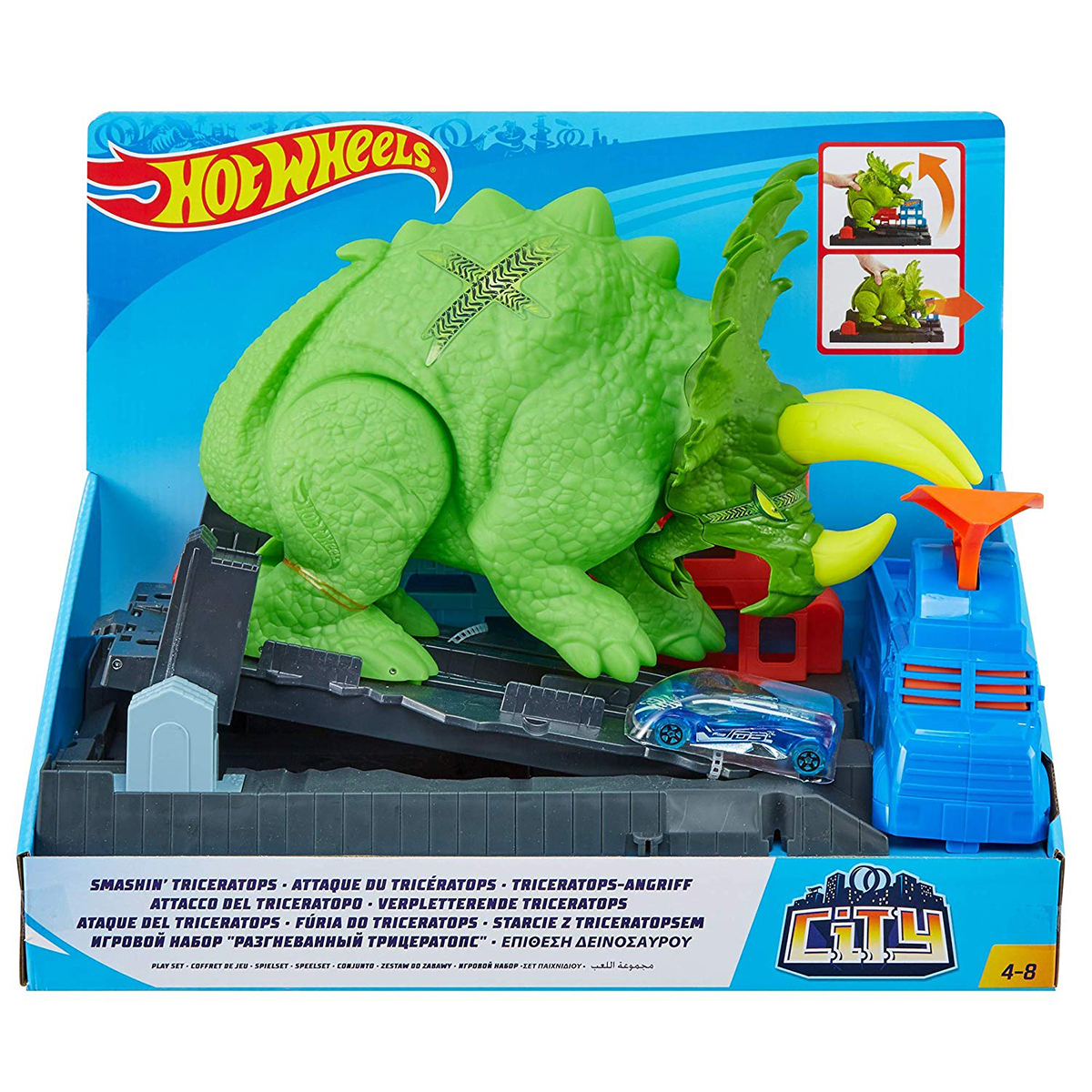 Set de joaca Hot Wheels - Smashin Triceratops