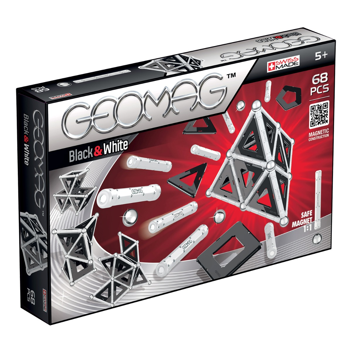 Joc de constructie magnetic Geomag Black and White, 68 piese