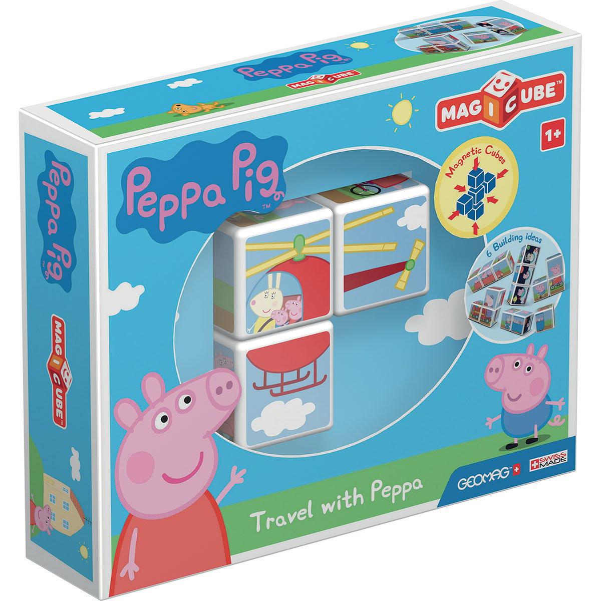 Joc de constructie magnetic Magic Cube, Peppa Pig Travel
