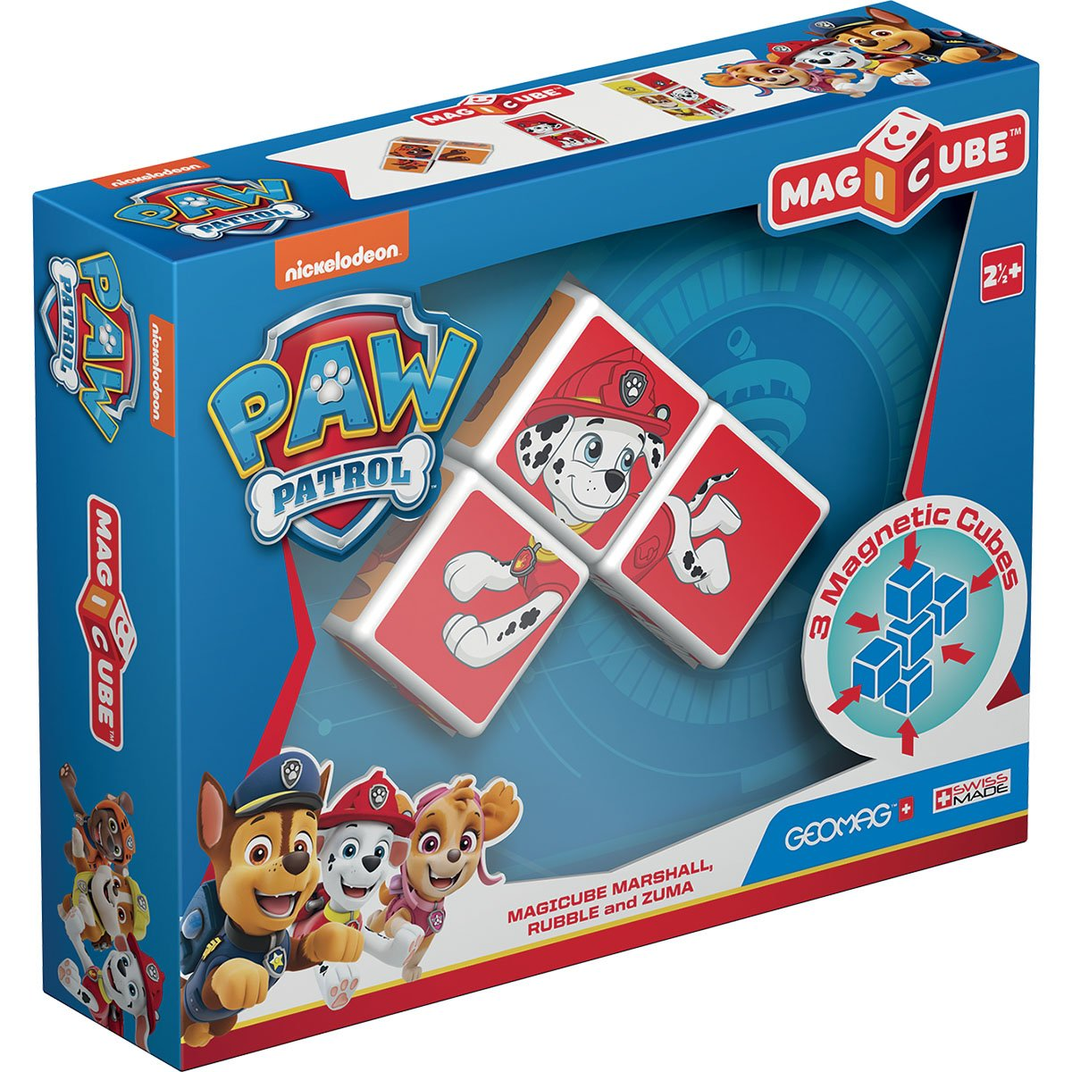 Joc de constructie magnetic Magic Cube, Paw Patrol, Marshall, Rubble si Zuma