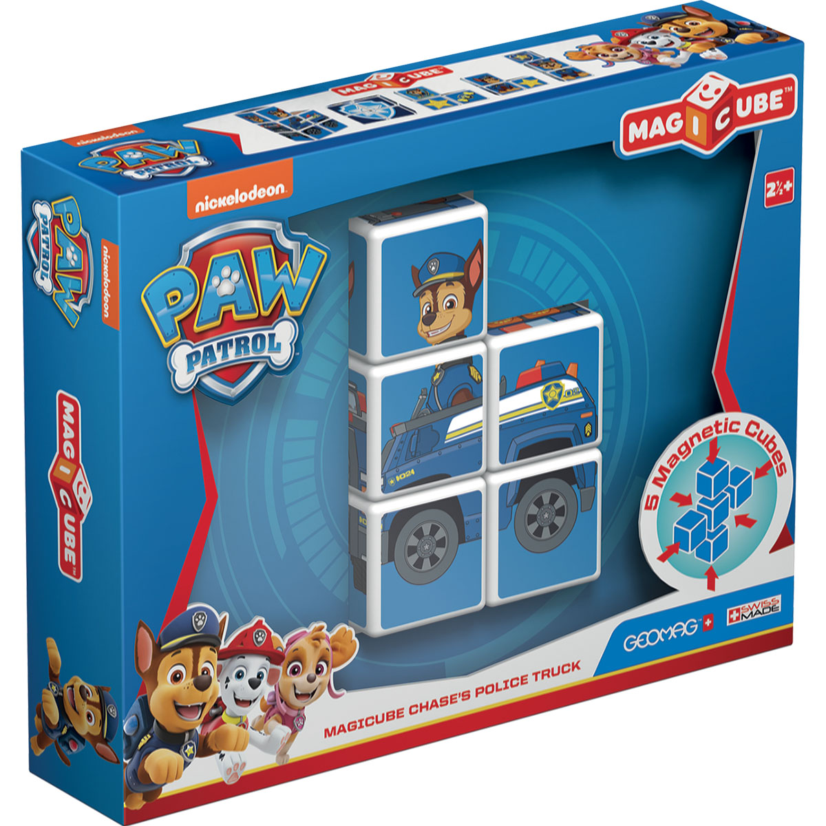 Joc de constructie magnetic Magic Cube, Paw Patrol, Chases's Police Truck