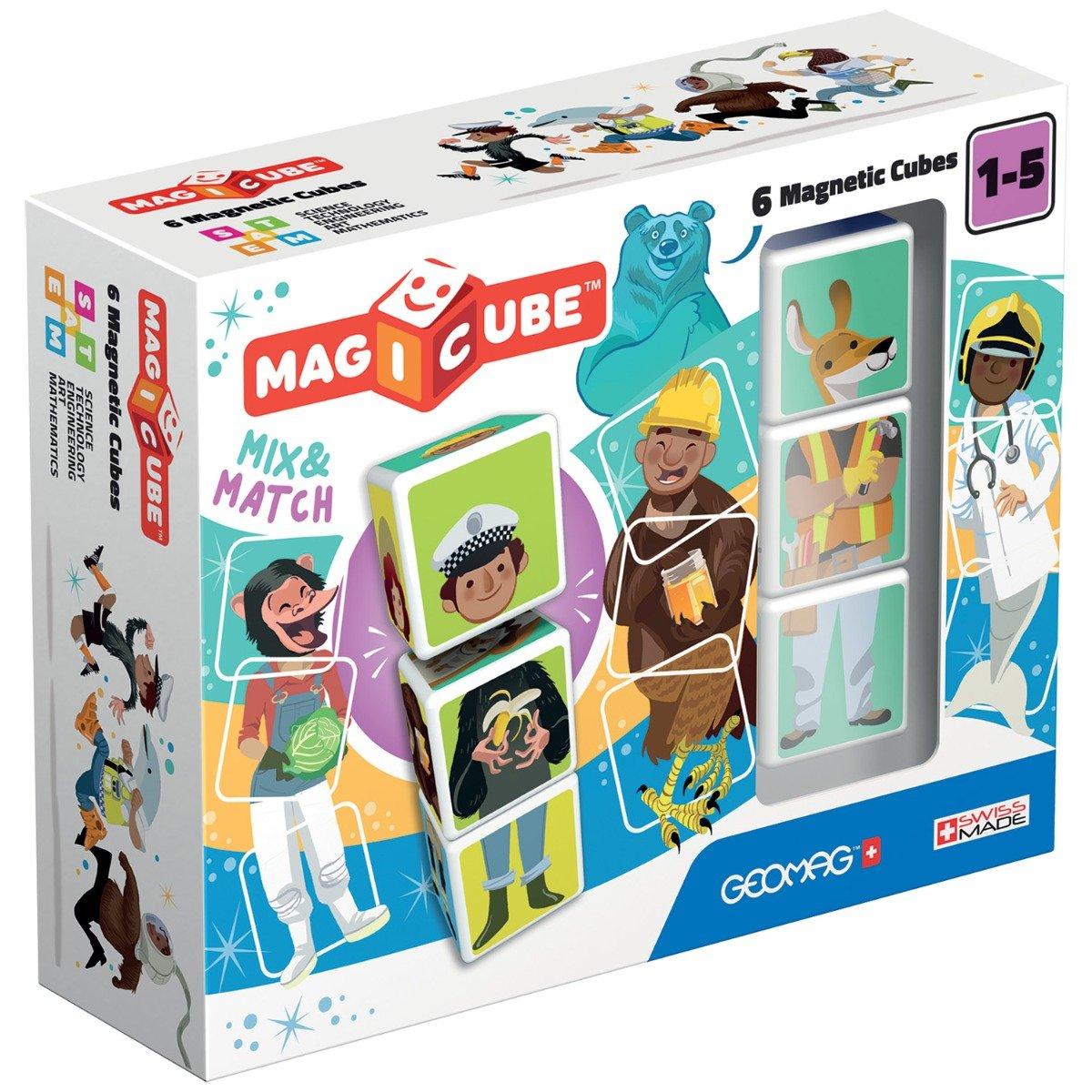 Set de constructie magnetic Magic Cube Match, 6 piese
