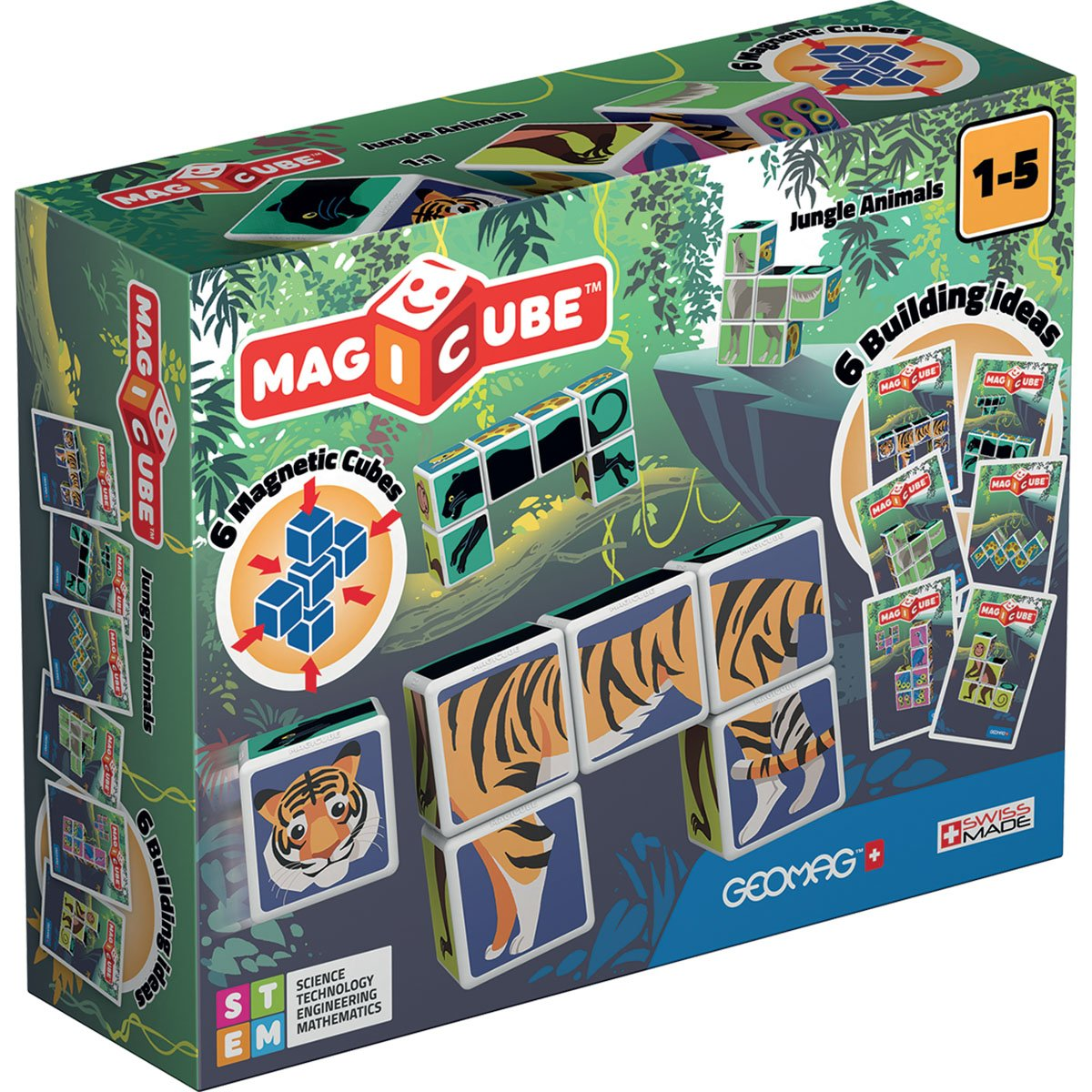 Joc de constructie magnetic Magic Cube, Jungle Animals