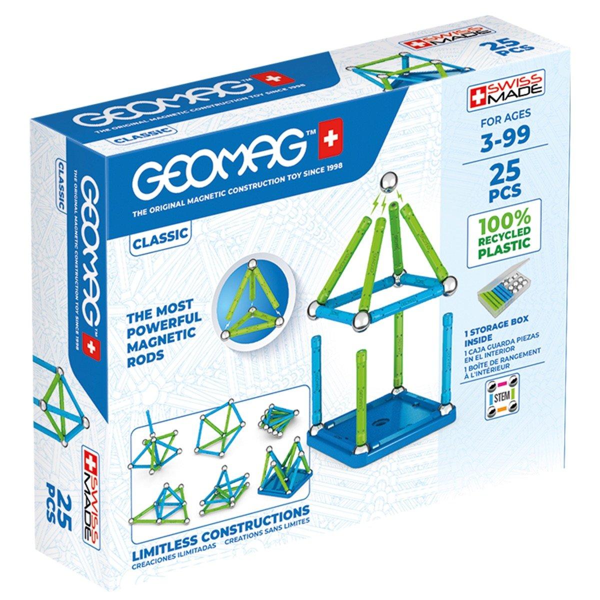 Joc de constructie magnetic Geomag Classic Recycled, 25 piese