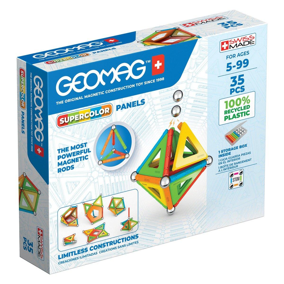 Joc de constructie magnetic Geomag Supercolors, 35 piese