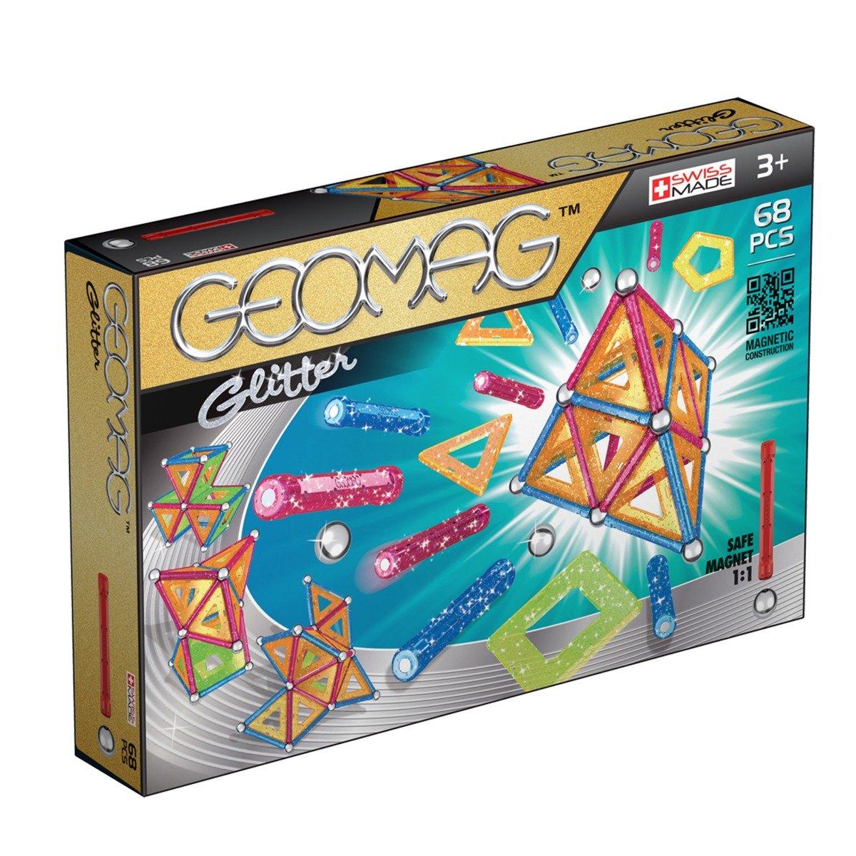 Joc de constructie magnetic Geomag Glitter, 68 piese
