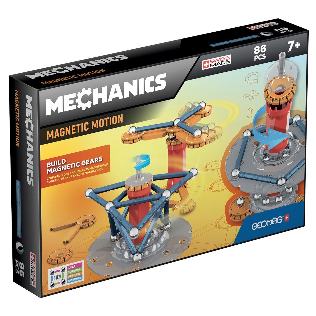 Joc de constructie magnetic Geomag Mechanics Motion, 86 piese