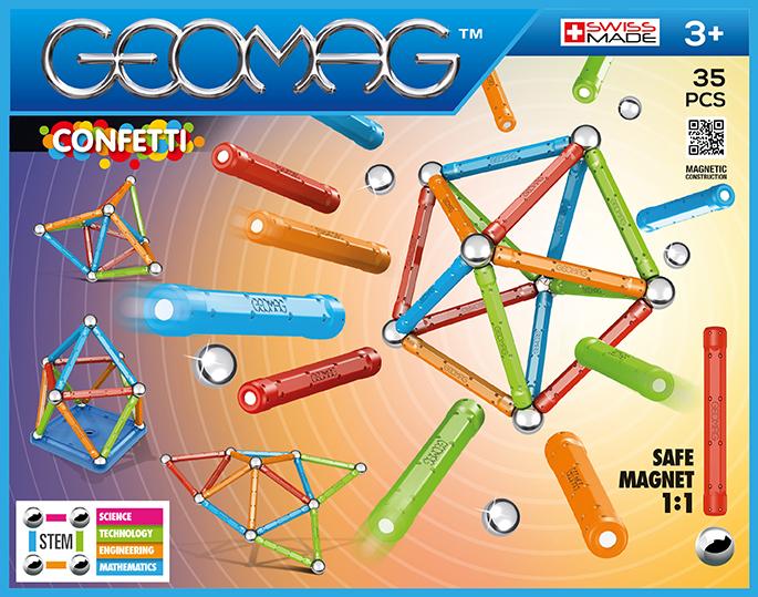 Joc de constructie magnetic Geomag Confetti, 35 piese