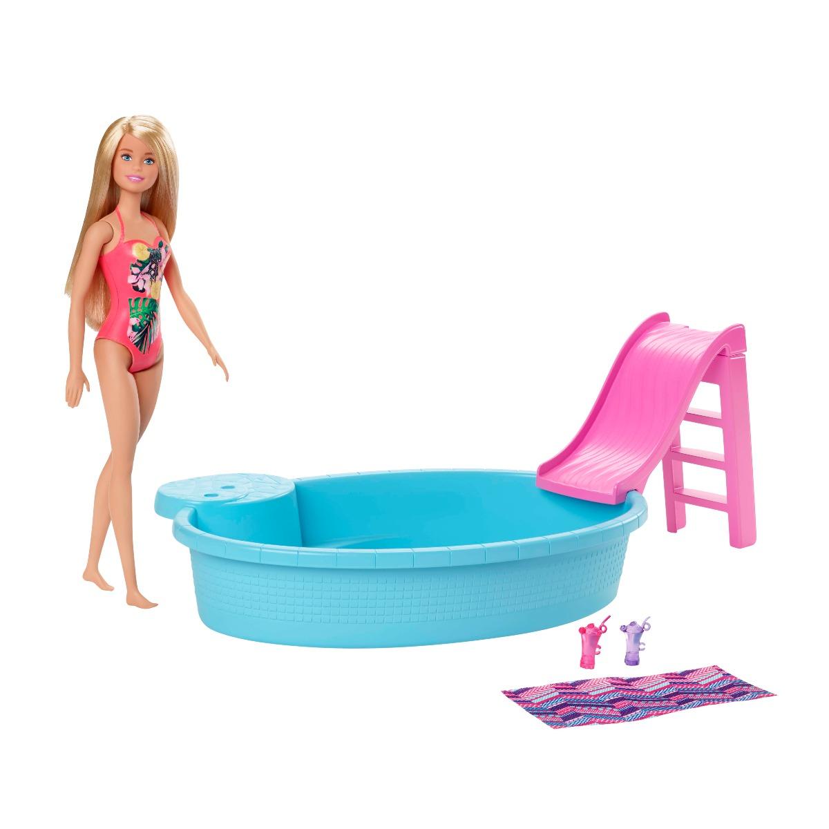 Set de joaca Barbie, Papusa cu piscina