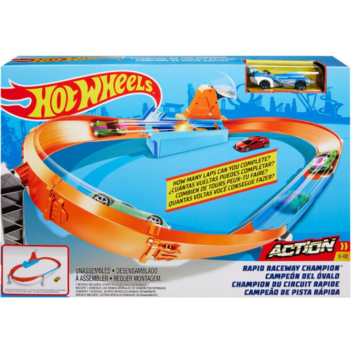 Set de joaca Circuit cu obstacole Hot Wheels, Rapid Raceway Champion GJM75