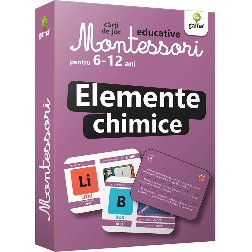 Carti de joc educative Montessori, Elemente chimice 6-12 ani