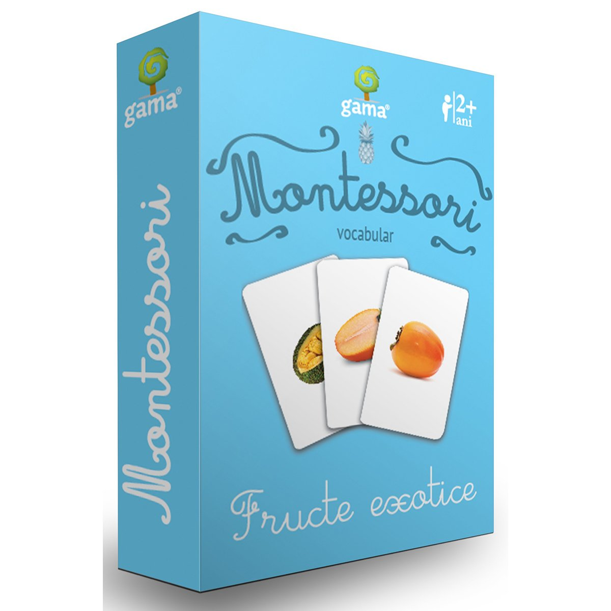 Editura Gama, Carti de joc educative Montessori Seria 2, Vocabular, Fructe exotice
