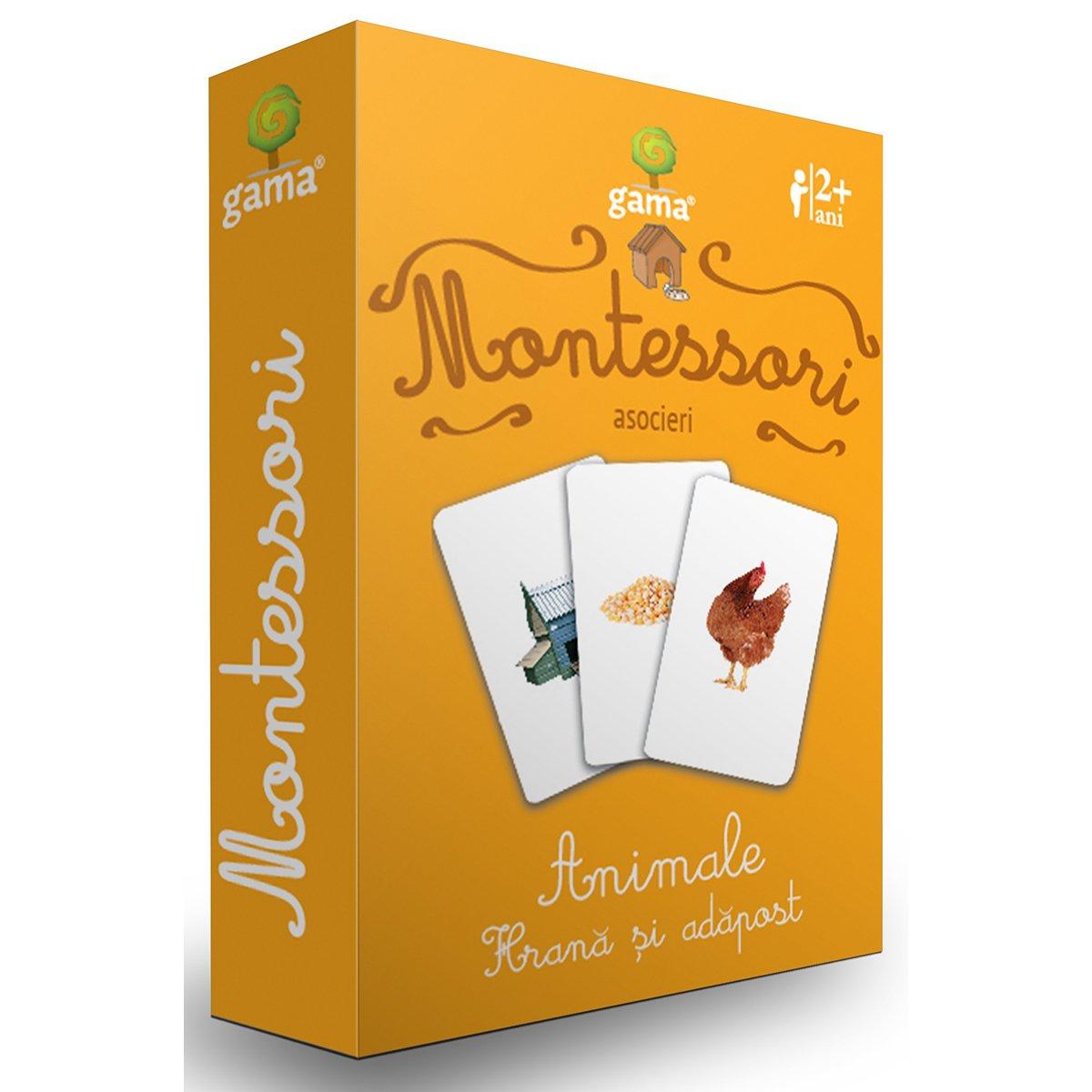 Editura Gama, Carti de joc educative Montessori Seria 2, Asocieri, Hrana si adapost