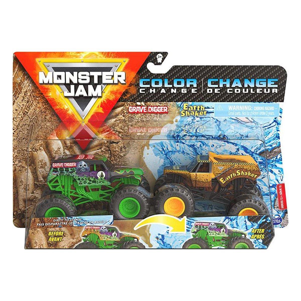 Set 2 masinute Monster Jam, Color Change, Grave Digger si Earth Shaker, 20128654, 1:64