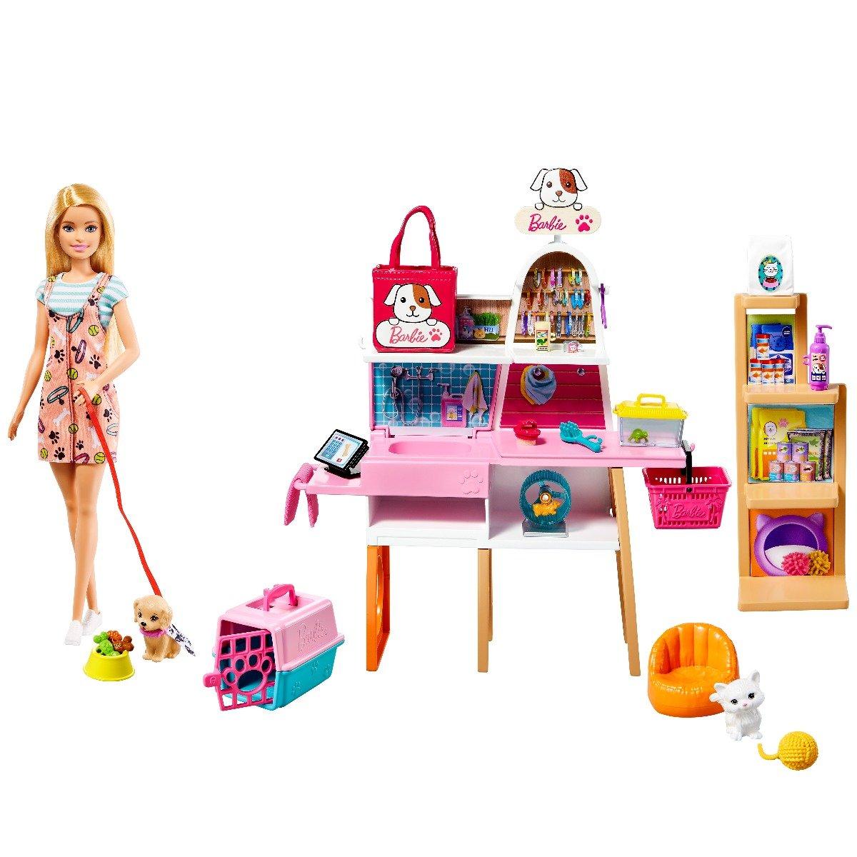 Set de joaca Papusa Barbie, Butic pentru animale de companie