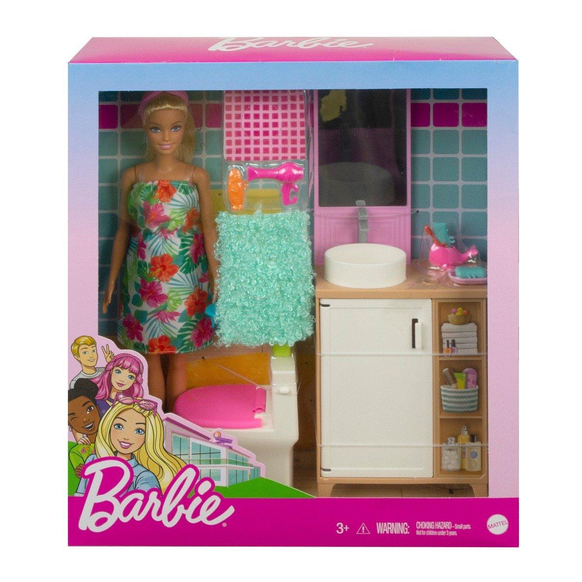 Set papusa Barbie si accesorii pentru baie, GRG87
