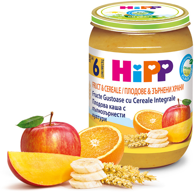 Gustare HiPP din fructe si cereale, 190 g
