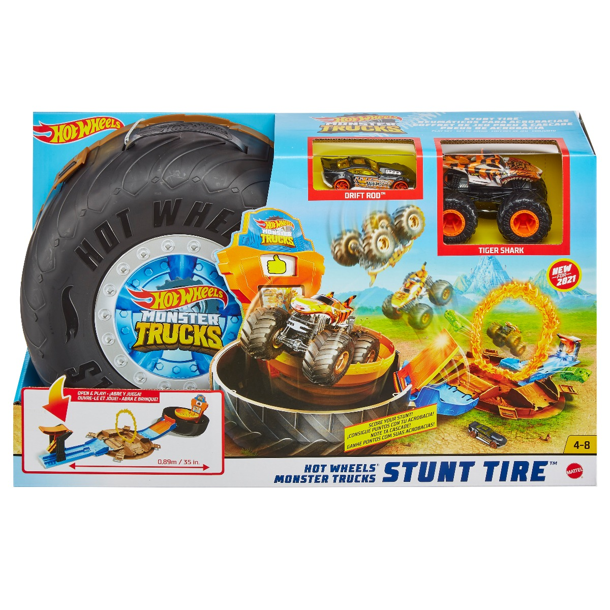 Set de joaca Circuit cu obstacole Hot Wheels Monster Truck, Stunt Ride