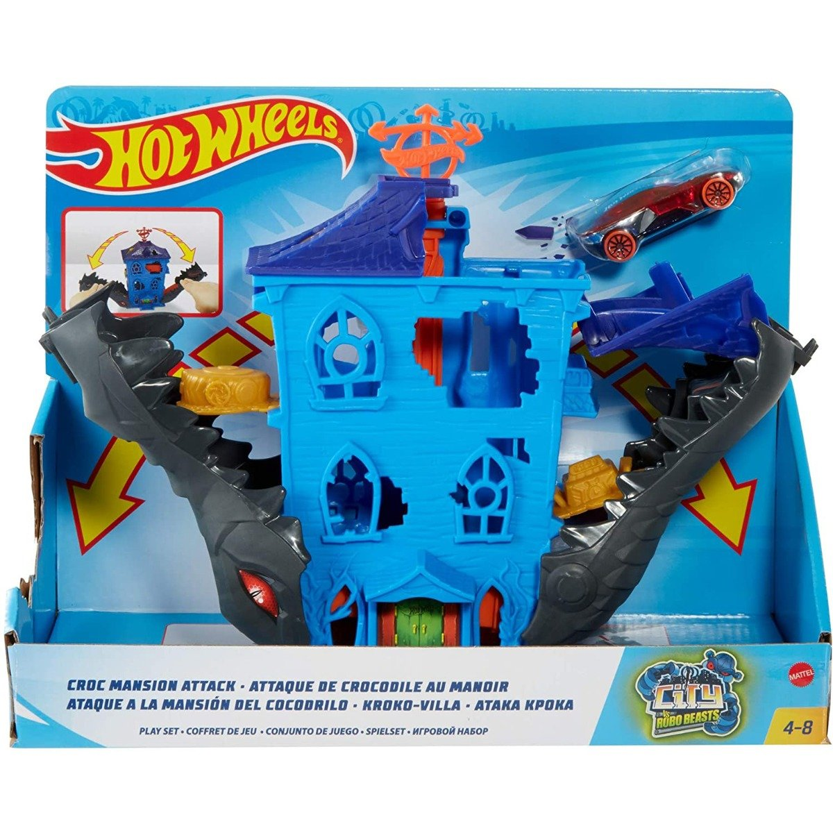 Set de joaca Circuit cu obstacole Hot Wheels City, Croc Mansion Attack (GJK91)