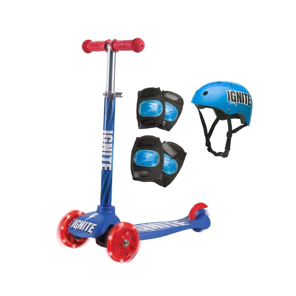 Trotineta cu 3 roti si echipament de protectie Ignite, Albastru