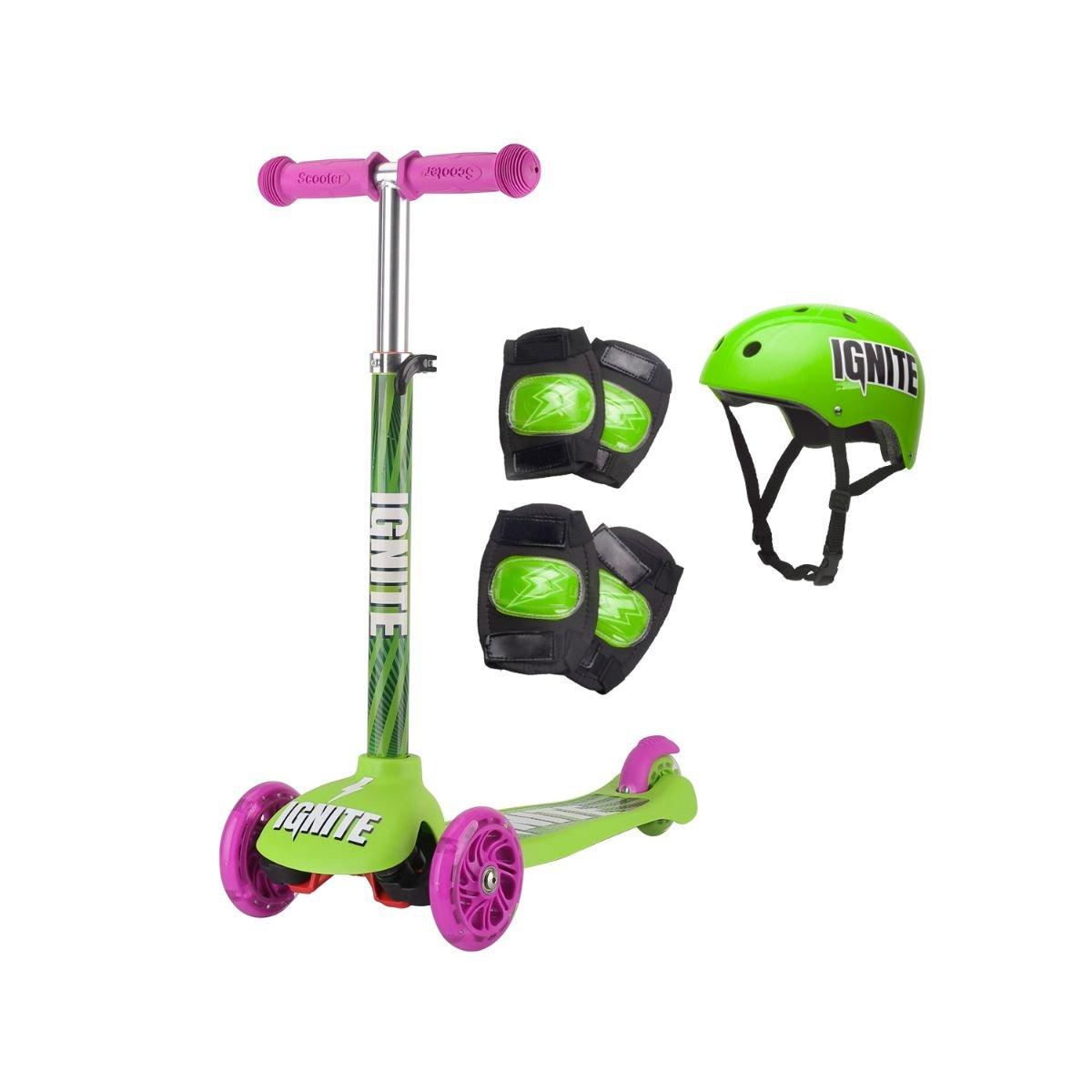 Trotineta cu 3 roti si echipament de protectie Ignite, Verde