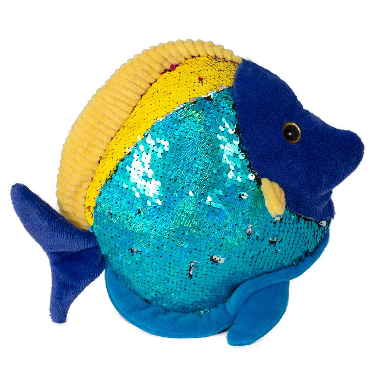 Jucarie de plus Noriel - Peste cu paiete reversibile, Albastru, 20 cm