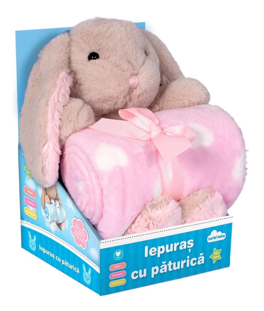 Jucarie de plus Noriel, Iepure cu paturica roz, 25 cm