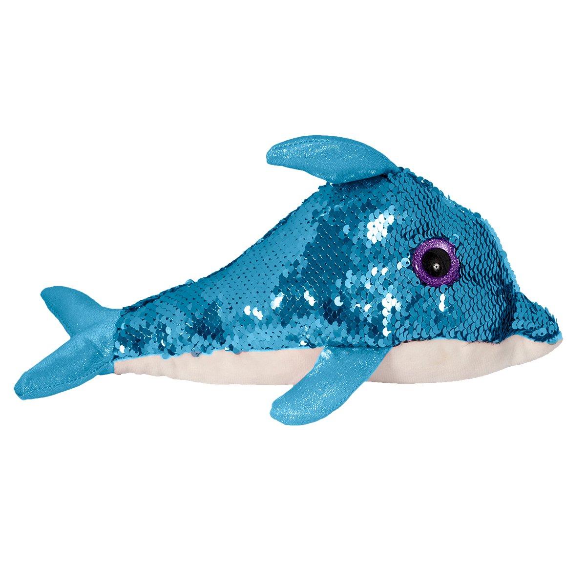 Jucarie de plus cu paiete reversibile Noriel, Delfin, Albastru, 29 cm