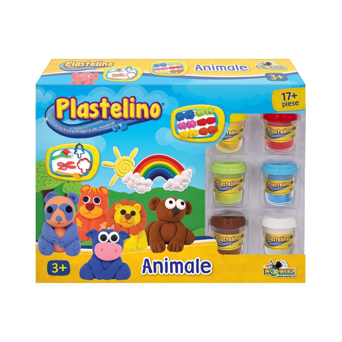 Set de modelare Plastelino, Animale, 17 piese