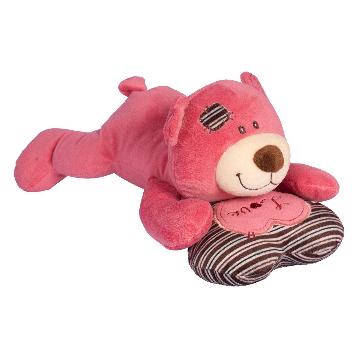Jucarie de plus Noriel, Ursulet Roz cu perna, 29 cm