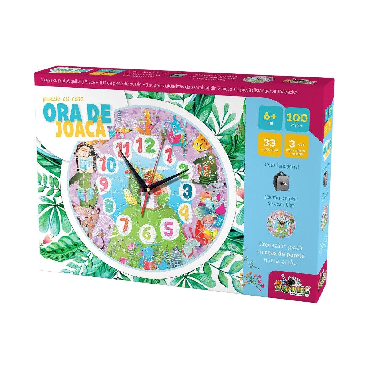 Puzzle cu ceas Noriel, Ora de joaca - Animale