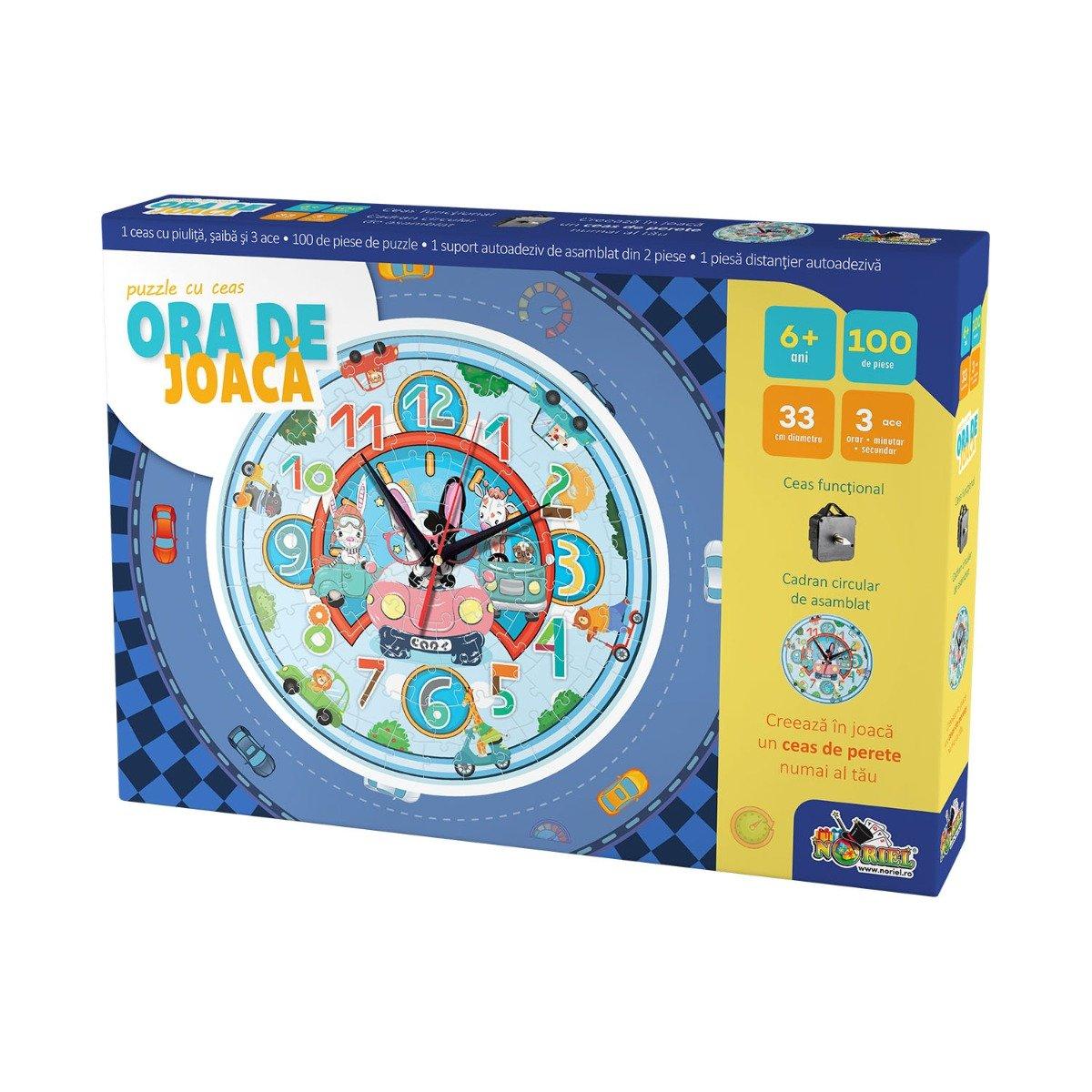 Puzzle cu ceas Noriel, Ora de joaca - Masinute