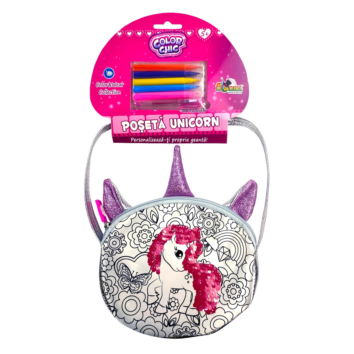 Poseta cu paiete reversibile Color Chic Unicorn