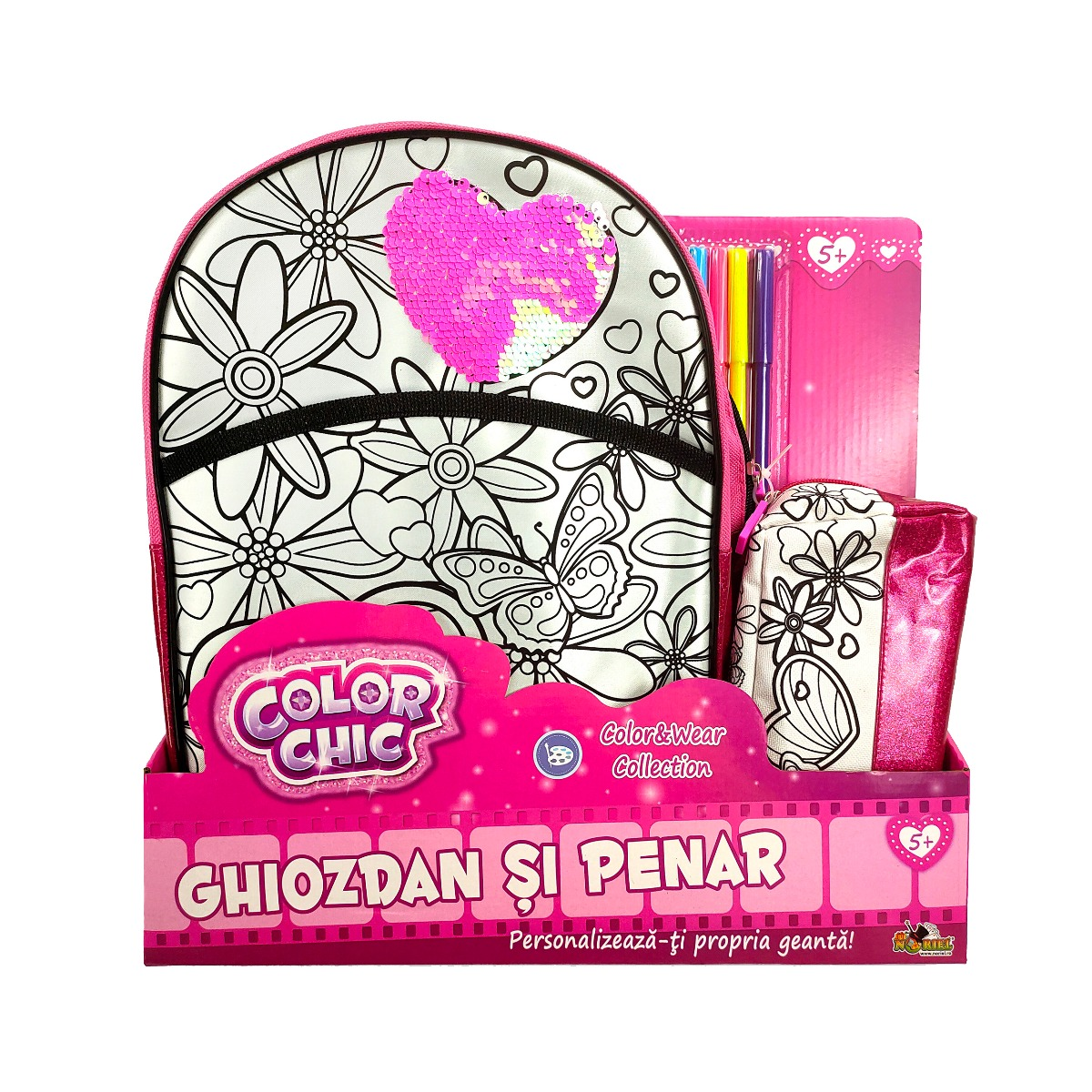 Set Ghiozdan si penar Color Chic