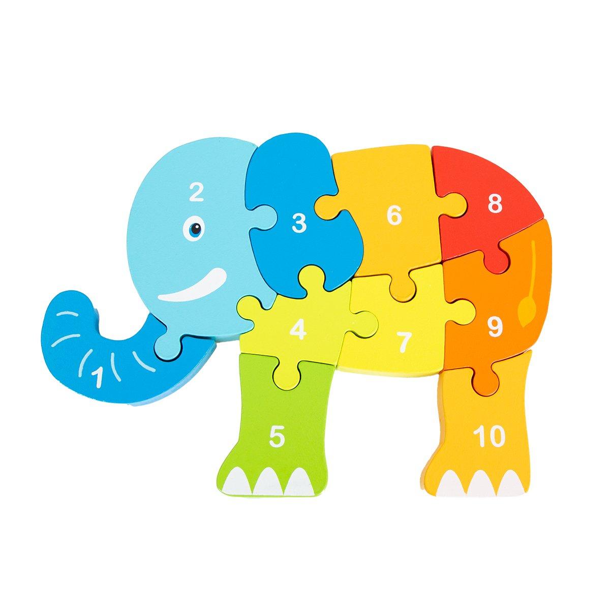 Jucarie bebelusi Noriel Bebe Wood - Puzzle elefant imagine 2021