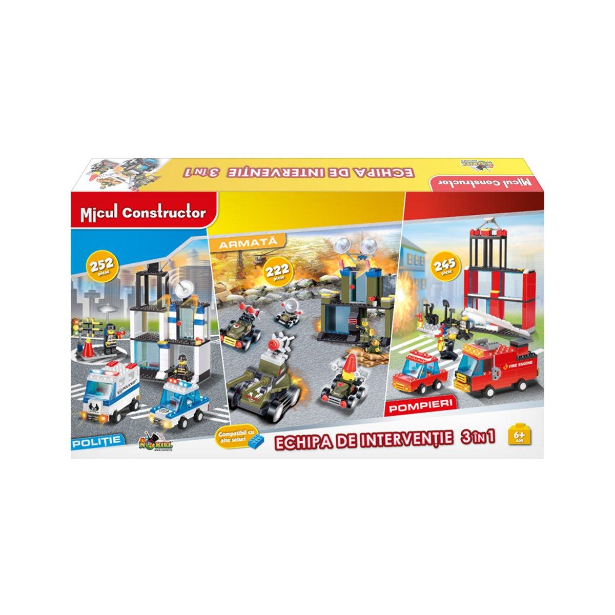 Jucarie de constructie Micul Constructor - Echipa de interventie 3 in 1