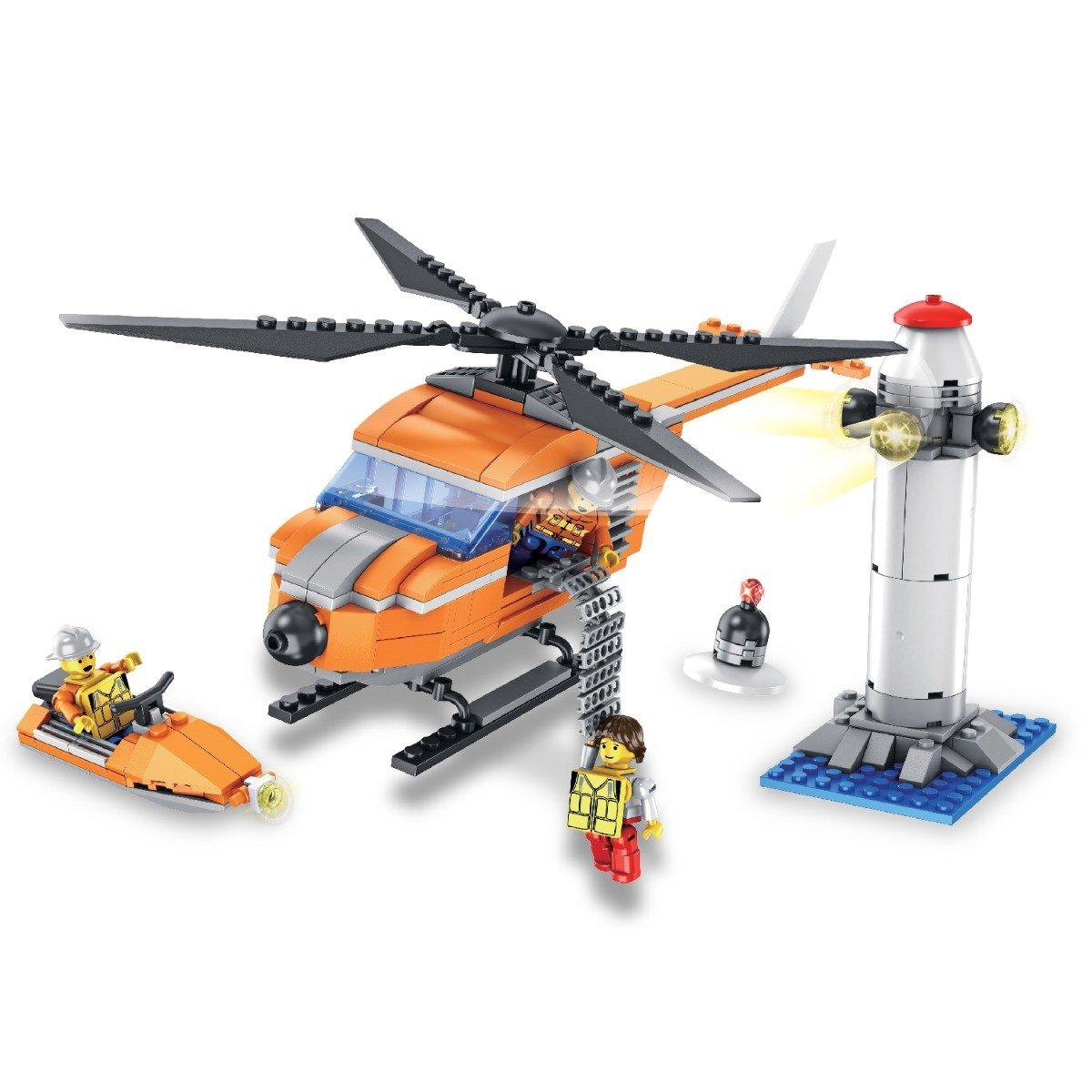 Jucarie de constructie Micul Constructor - Set elicopter si far