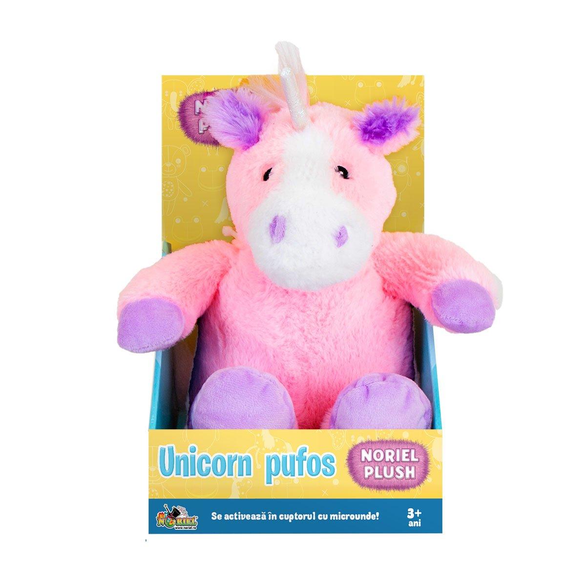 Jucarie de plus Noriel Plush - Unicorn pufos, roz, 25 cm