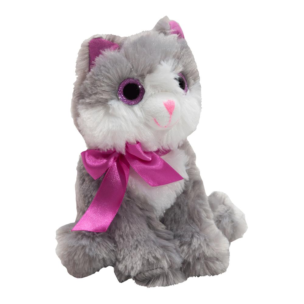 Jucarie de plus Noriel Plush – Pisicuta Gri cu Fundita Roz, 20 cm