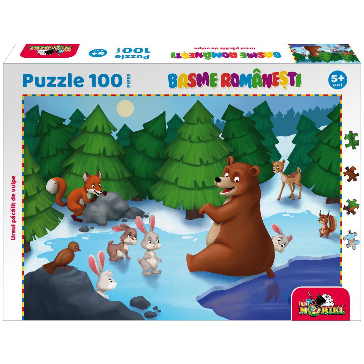 Puzzle 100 piese, Noriel Basme Romanesti, Ursul pacalit de vulpe