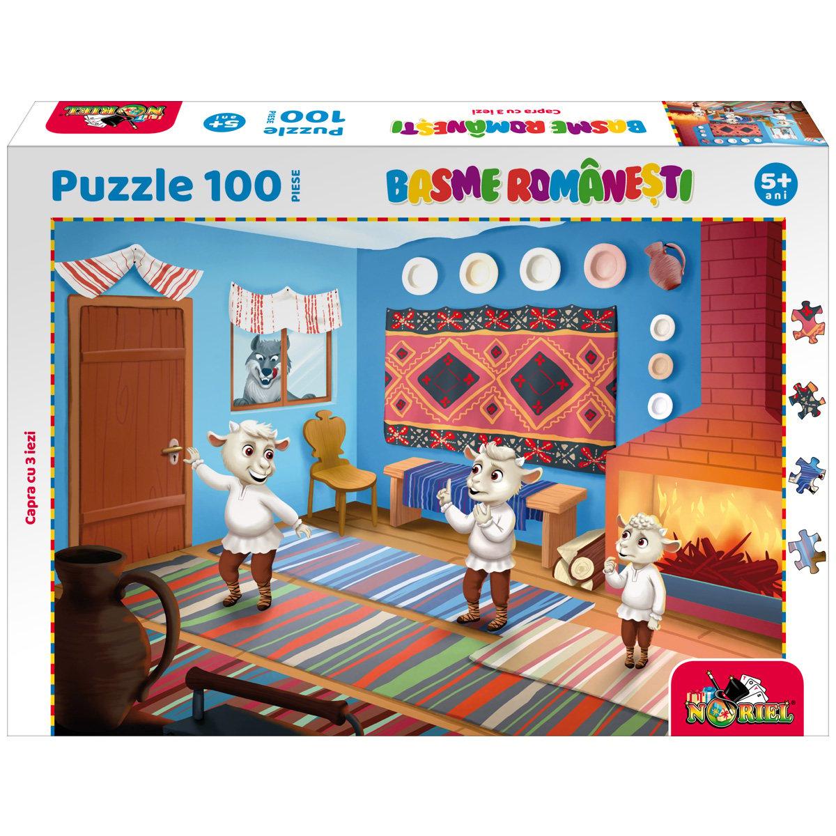 Puzzle 100 piese, Noriel Basme Romanesti, Capra cu trei iezi