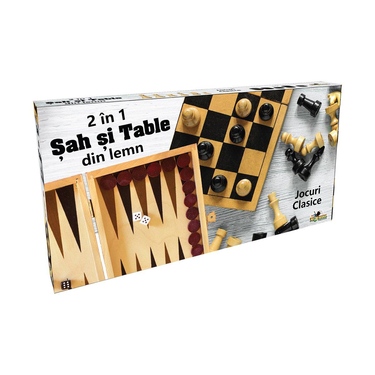 Set sah si table din lemn Noriel Games imagine