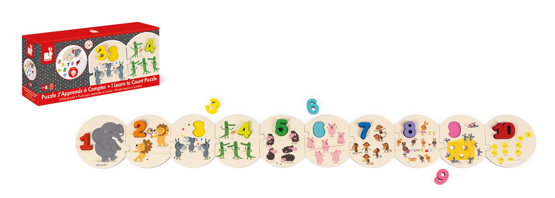 Puzzle din lemn Janod - Invata sa numeri, 10 piese
