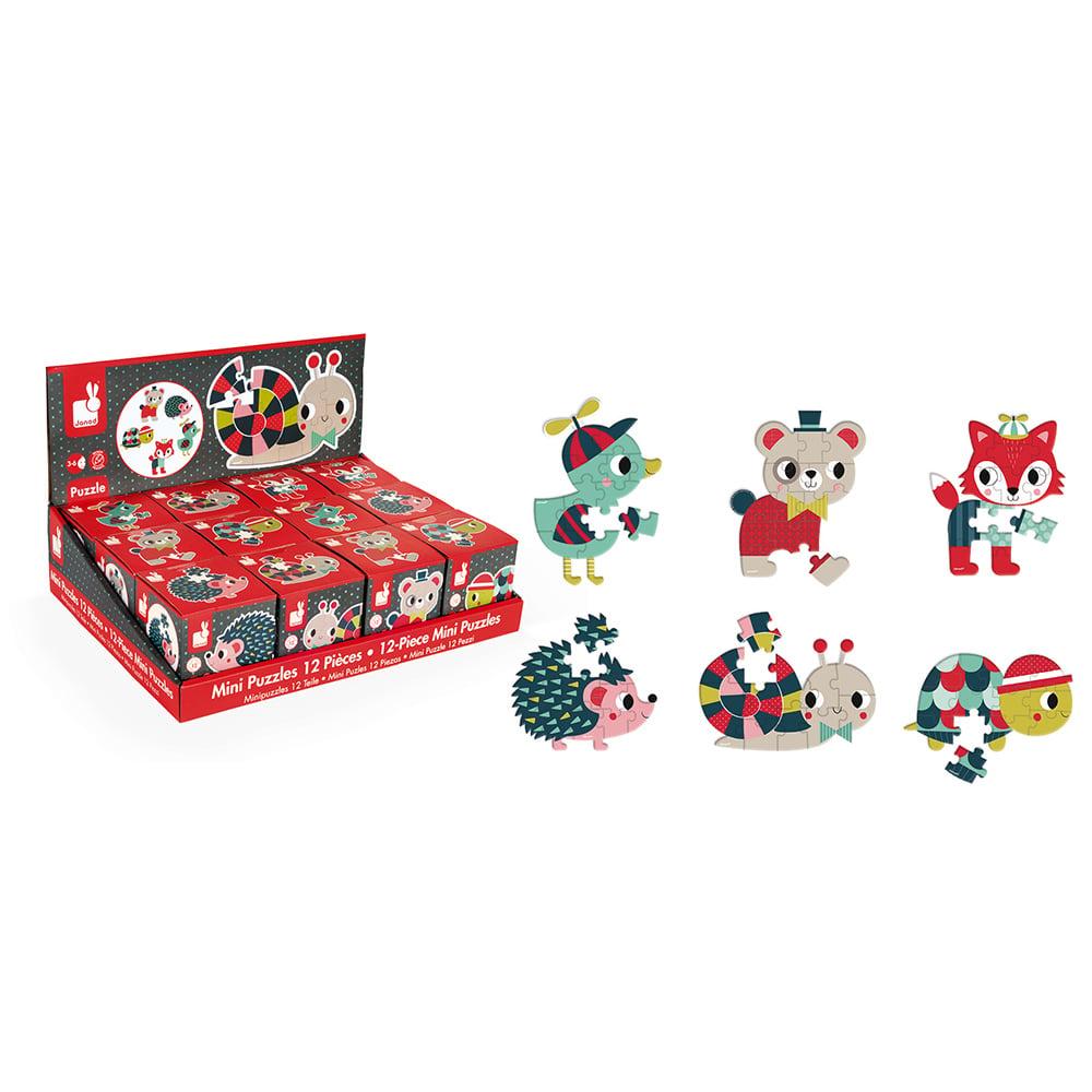 Mini puzzle, animalute, 12 piese, Janod
