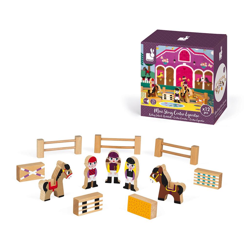 Set de joaca din lemn Mini povesti Janod Scoala de echitatie
