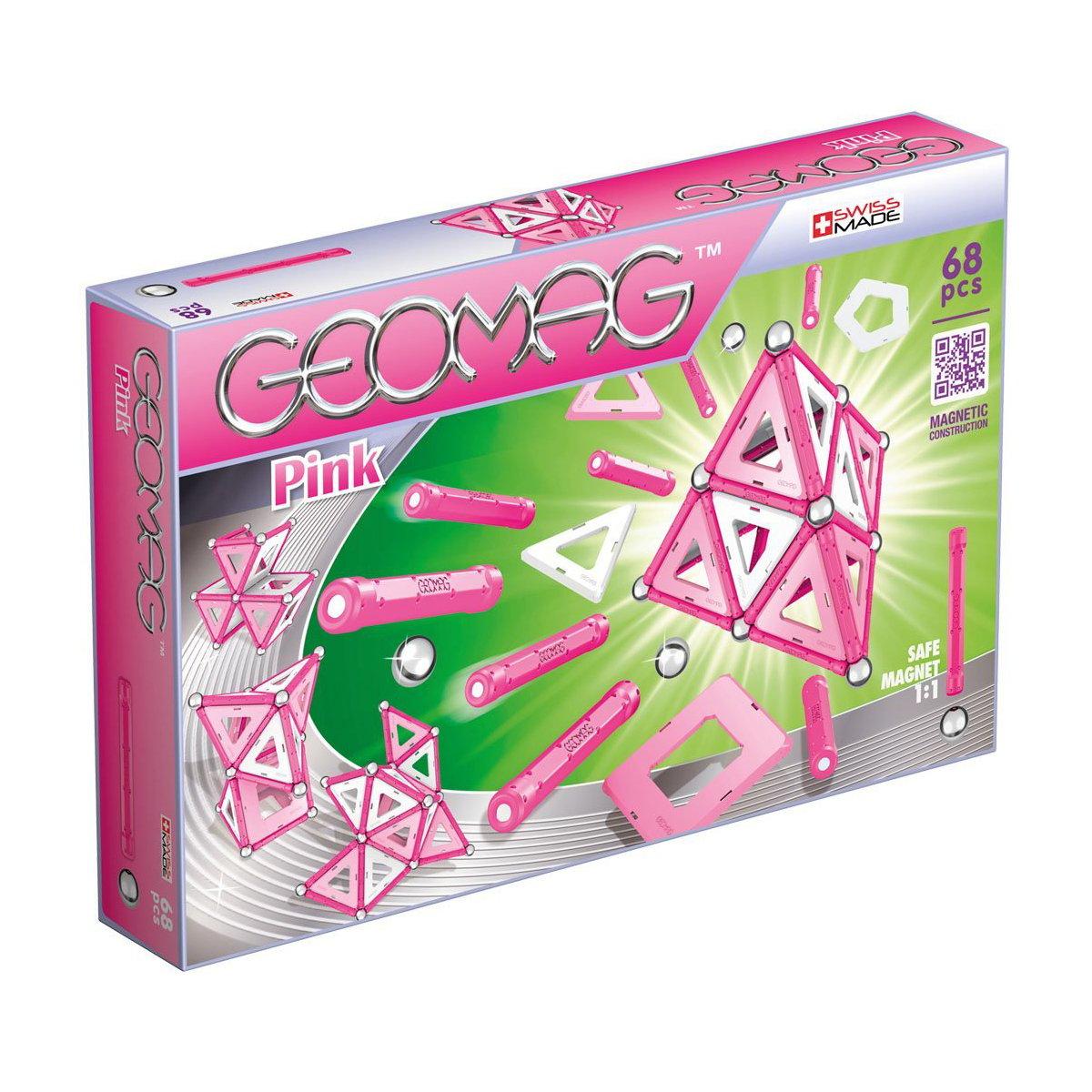 Joc de constructie magnetic Geomag Pink, 68 piese