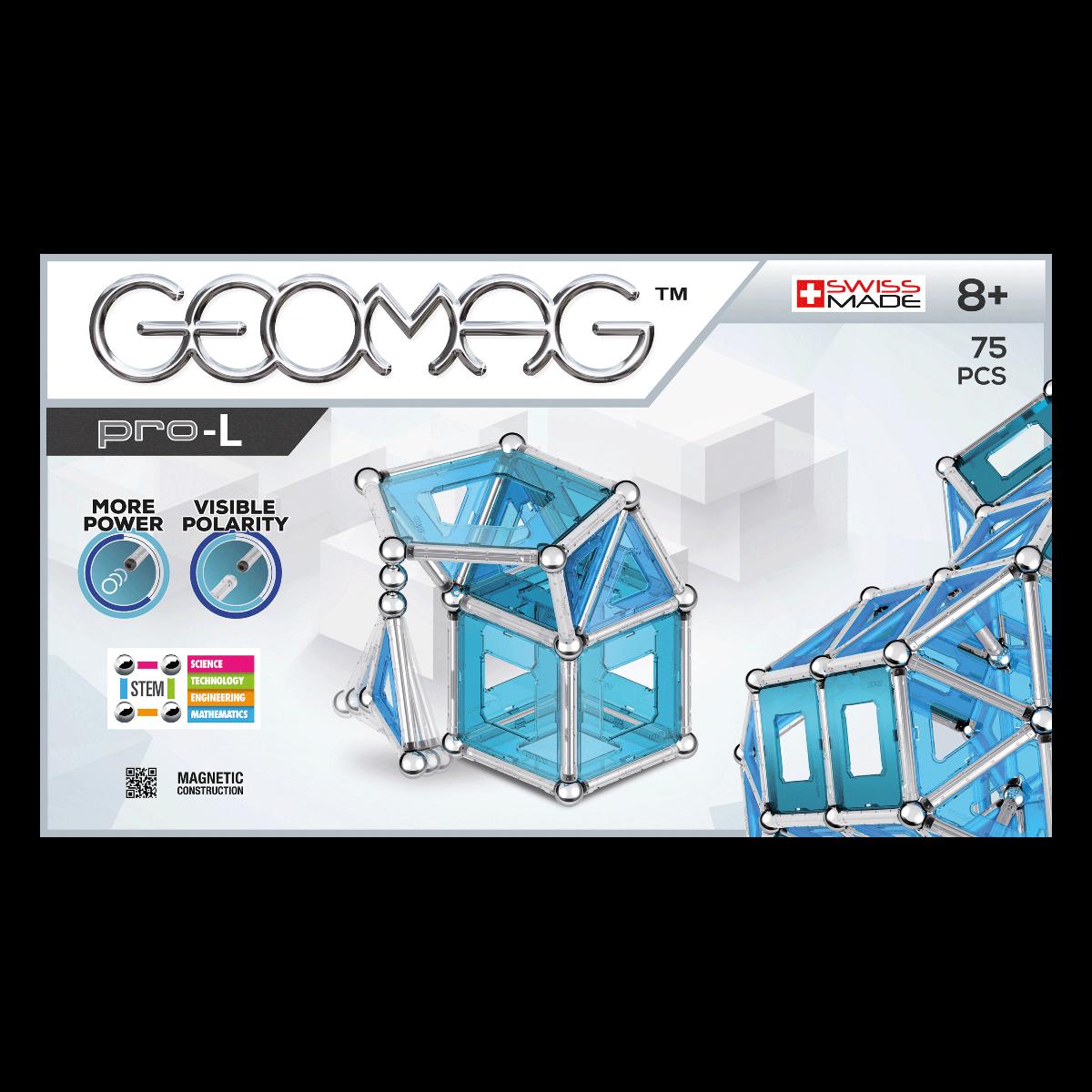 Joc de constructie magnetic Geomag PRO-L, 75 piese