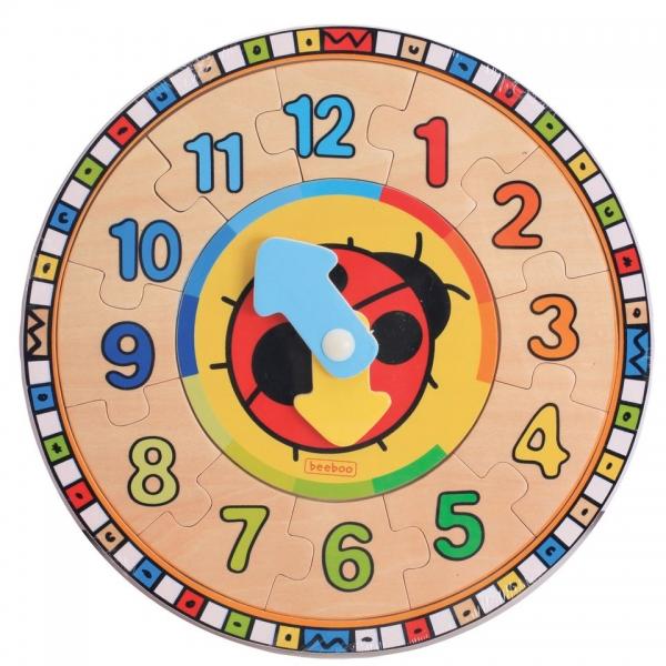 Jucarie educativa Beeboo - Ceas rotund din lemn