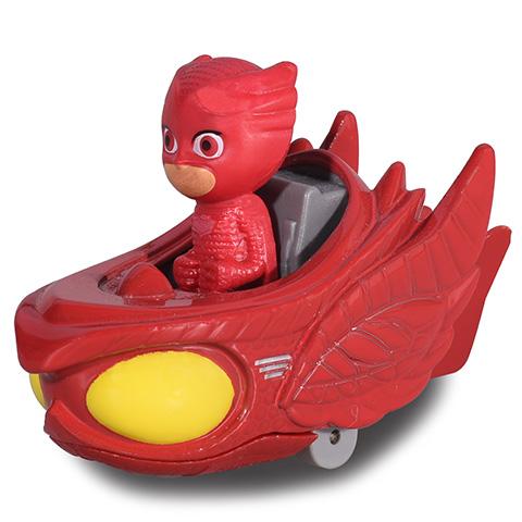 jucarie eroi in pijama figurina si masinuta owl-glider